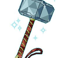 Sparkling Faceted Pixel Mjölnir by fleethall