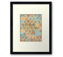 Golden Honeycomb Tangle - hexagon doodle in peach, blue, mint & cream Framed Print