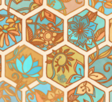 Golden Honeycomb Tangle - hexagon doodle in peach, blue, mint & cream Sticker
