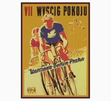 WYSCIG POKOJU; Vintage Bicycle Road Race Print Kids Tee