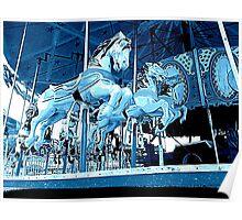 Midnight  Carousel Horses Poster