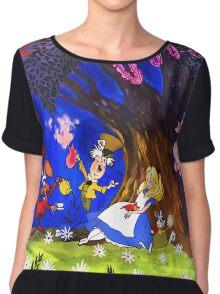 Alice In Wonderland On Canvas Chiffon Top