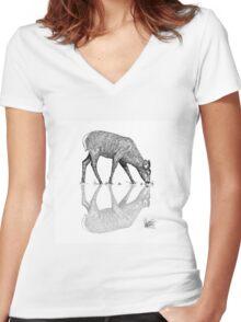 Reflective Deer Line Work Vector  Women's Fitted V-Neck T-Shirt