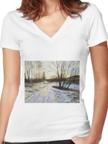 Sunset Reflections On Ice Women's Fitted V-Neck T-Shirt