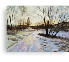 Sunset Reflections On Ice Canvas Print