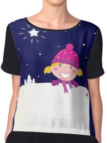 Cute christmas blond hair girl holding a blank banner label for message Chiffon Top