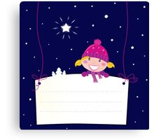 Cute christmas blond hair girl holding a blank banner label for message Canvas Print