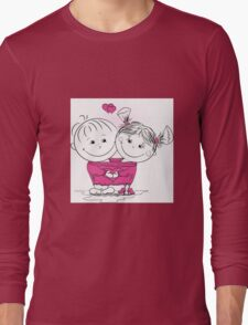 man and woman in love in one big jumper Long Sleeve T-Shirt