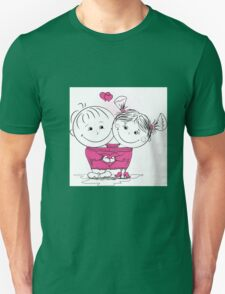 man and woman in love in one big jumper Unisex T-Shirt