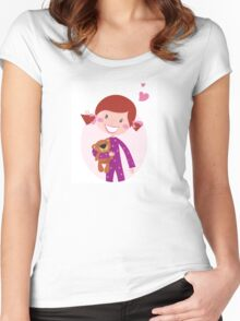 Happy little girl hugging teddy bear. Cute little girl with her new toy - Teddy Bear Women's Fitted Scoop T-Shirt