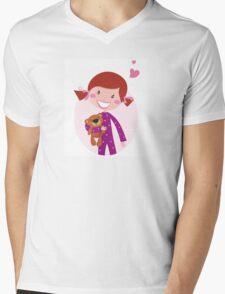 Happy little girl hugging teddy bear. Cute little girl with her new toy - Teddy Bear Mens V-Neck T-Shirt