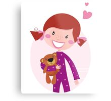 Happy little girl hugging teddy bear. Cute little girl with her new toy - Teddy Bear Metal Print