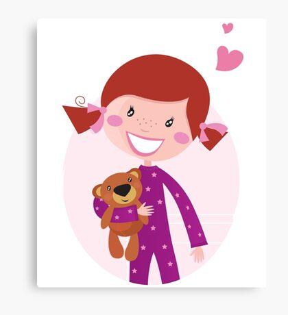 Happy little girl hugging teddy bear. Cute little girl with her new toy - Teddy Bear Canvas Print