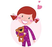 Happy little girl hugging teddy bear. Cute little girl with her new toy - Teddy Bear Photographic Print