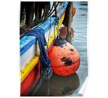 Red Buoy of a large boat Poster
