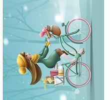 Girl riding a bike by olarty