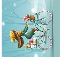 Girl riding a bike by olarty