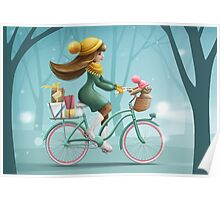 Girl riding a bike Poster