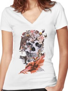 Birds, butterfly and Sugar Skull Women's Fitted V-Neck T-Shirt