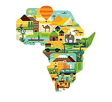 Africa Is Amazing - A Detailed Illustrated African Culture Design Photographic Print