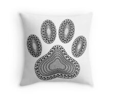 Abstract Ink Dog Paw Print Throw Pillow