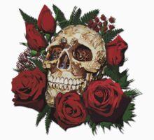Red Rose Sugar skull Kids Tee