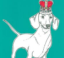 Dachshund In A Crown by Adam Regester