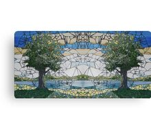 Stained Glass Mosaic Landscape Mirror Canvas Print