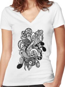 Let the Music Play Women's Fitted V-Neck T-Shirt
