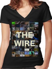 The Wire Television Poster Women's Fitted V-Neck T-Shirt