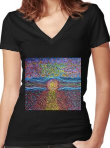 Sunset - Hand Painted Women's Fitted V-Neck T-Shirt