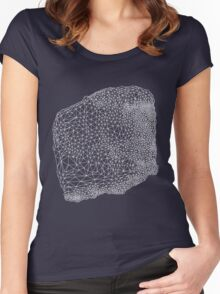 white geometric pattern Women's Fitted Scoop T-Shirt