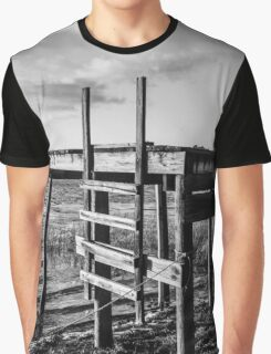 Black and White Old Time Dock Graphic T-Shirt