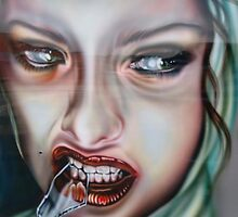 Self Portrait Biting Glass by OpeningMinds