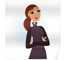 Businesswoman folding arms and smiling. Vector Illustration. Poster
