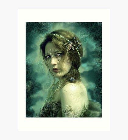 Mermaid Behind Her Mask Art Print