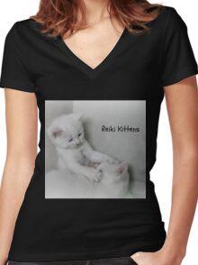 Reiki Kittens Women's Fitted V-Neck T-Shirt