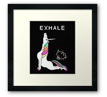 Exhale Yoga T-shirt Unicorn With Rainbow Framed Print