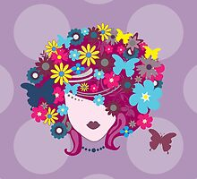 Girl Face, Hair, Butterflies, Flowers - Pink Blue by sitnica