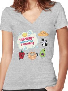 """""""Crying"""" Breakfast Friends! // Steven Universe Women's Fitted V-Neck T-Shirt"""