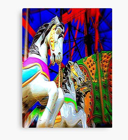Carousel Horsey Racing Canvas Print