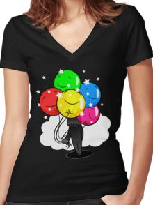 In the Shadow of Balloons Women's Fitted V-Neck T-Shirt