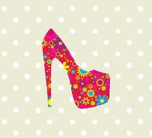 High Heel Shoe, Flowers - Red Yellow Blue  by sitnica