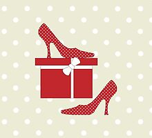 High Heel Shoes, Polka Dots, Gift Box - Red White by sitnica