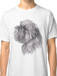 Brussels Griffon Dog Portrait Drawing Classic T-Shirt