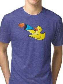 Duckie with a loud speaker Tri-blend T-Shirt