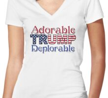 Adorable TRUMP Deplorable  Women's Fitted V-Neck T-Shirt