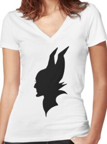Black Maleficent Silhouette Women's Fitted V-Neck T-Shirt