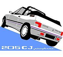 Peugeot 205 CJ cabriolet white Photographic Print