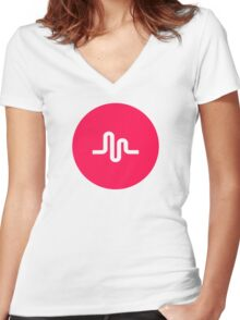musical ly Women's Fitted V-Neck T-Shirt